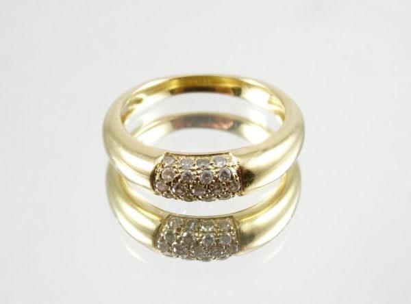 Bague jonc or et diamants 0,20 ct