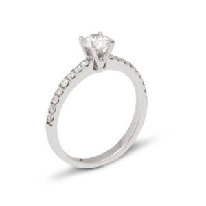 Solitaire or et diamants 0,75 ct