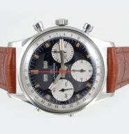 Wakmann, chronographe triple quantième, acier sur cuir
